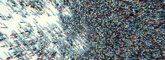 An overview of a crowd of people
